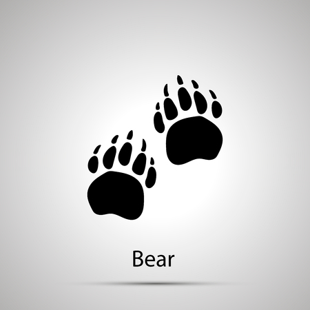 Bear paws, steps imprints, simple black silhouette on gray Illustration
