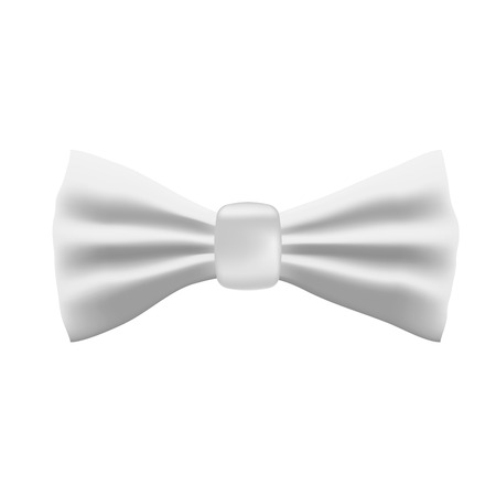Realistic white bow tie isolated on white