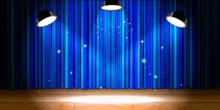 Empty beige wooden stage with blue drape and bright light