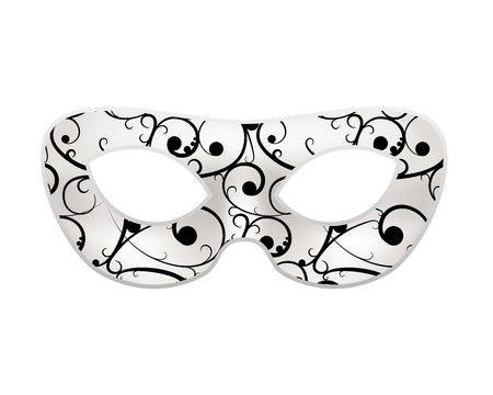 Bright masquerade mask with black baroque pattern on white