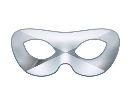 Bright silver masquerade mask on white