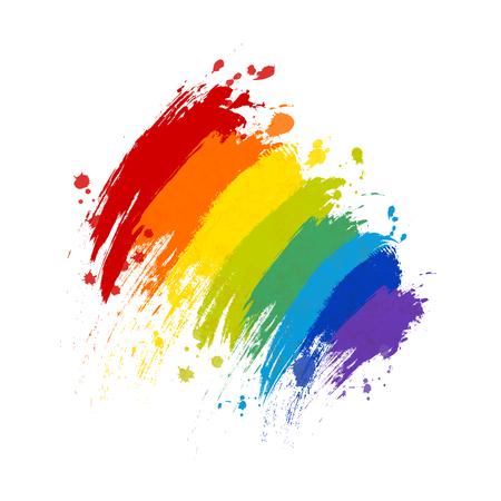 Rainbow paint splash with texture on white