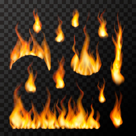 Set of bright different fire flames on transparent background