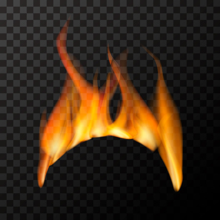 Bright fire flame in arc shape on transparent background