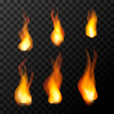 Set of bright fire flames on transparent background