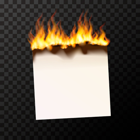 Realistic burning blank piece of paper bright with fire flames Ilustrace