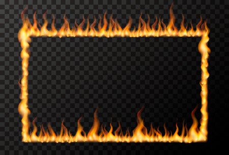 Bright fire flame in rectangle frame shape on transparent background
