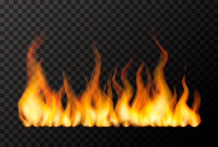 Wide bright fire flame on transparent background