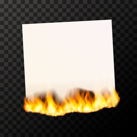 Realistic burning blank sheet of white paper bright with fire flames