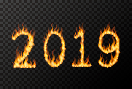 2019 number made from bright fire flames on transparent background