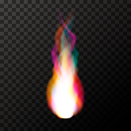 Bright colorful magic fire flame on transparent