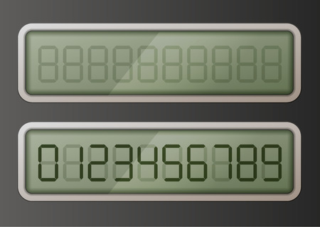 Set of retro digital electronic numbers on green display  イラスト・ベクター素材