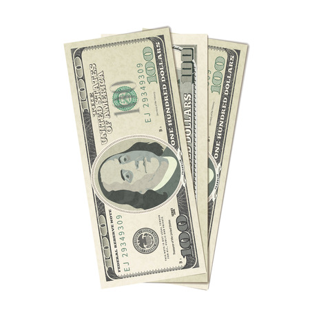 Fake three hundreds USA dollars, banknotes isolated on white