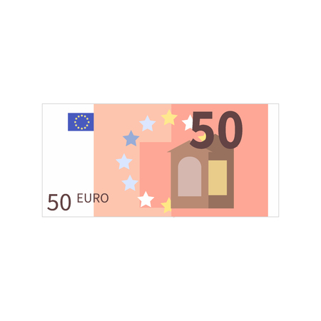 Flat simple fifty euro banknote on white