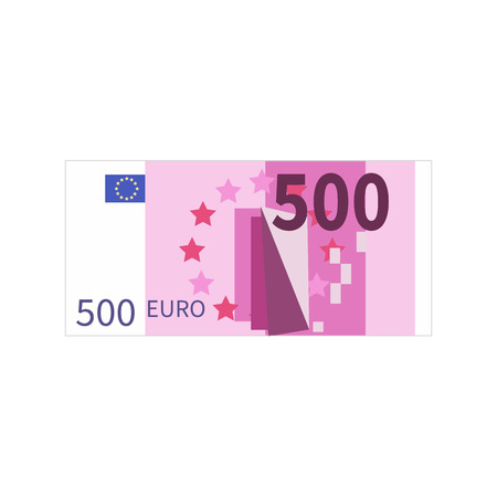 Flat simple five hundred euro banknote isolated on white Ilustração