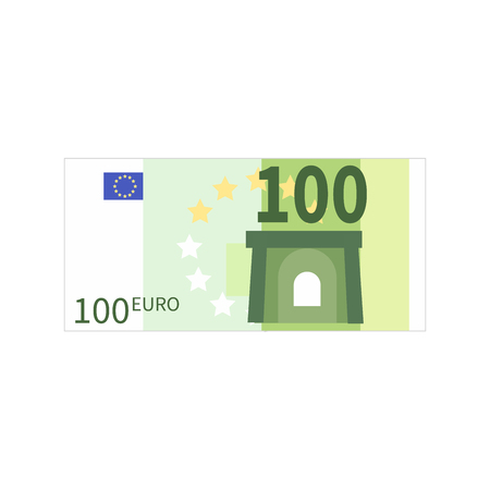 Flat simple one hundred euro banknote isolated on white 矢量图像