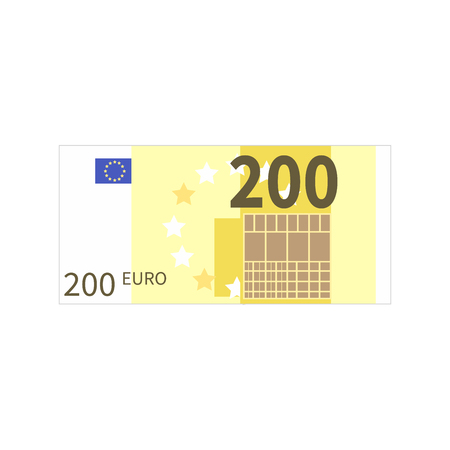 Flat simple two hundred euro banknote isolated on white Иллюстрация
