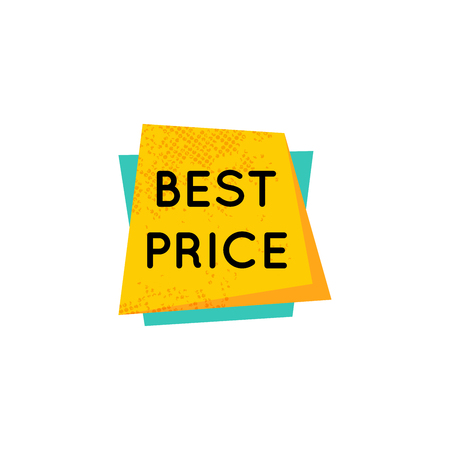 Yellow retro best price badge sign isolated on white Banque d'images - 125328873