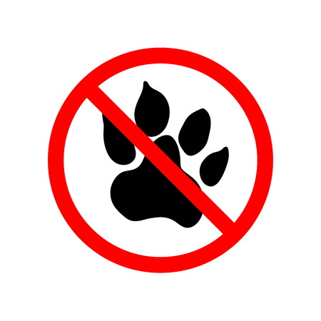 Animals are not allowed, red forbidden sign isolated on white Illustration