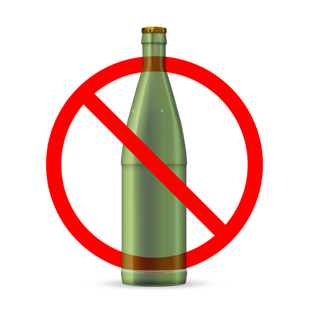 Glass bottles not allowed, red forbidden sign isolated on white