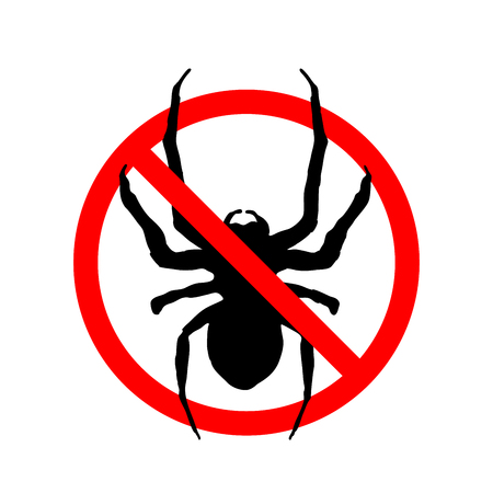 Insects not allowed, red forbidden sign isolated on white