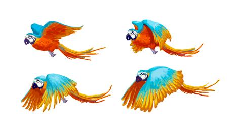 Feuille de sprite de perroquet volant, animation d'art de jeu