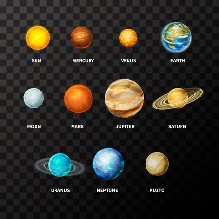 Conjunto de planetas realistas brillantes en el sistema solar como Mercurio, Venus, Tierra, Marte, Júpiter, Saturno, Urano, Neptuno y Plutón, incluyendo sol y luna en transparente