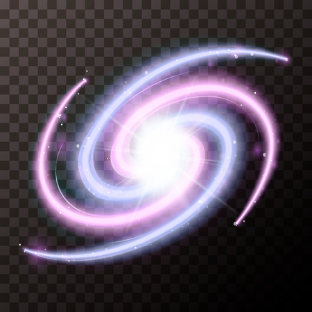 Bright spiral galactic with lots stars on transparent background