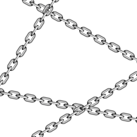 Glossy metal crossed chains on white