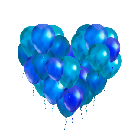 A lot of blue balloons in heart shape isolated on white