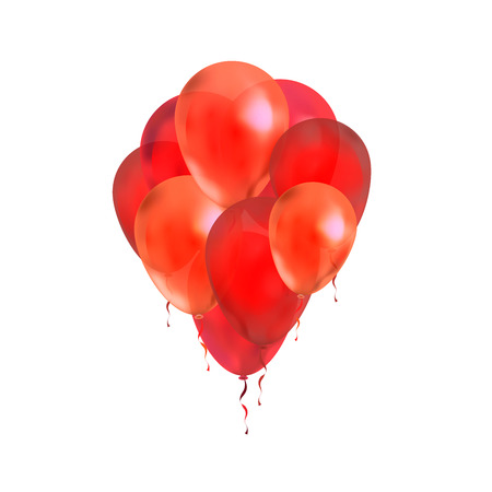 A lot of red balloons isolated on white