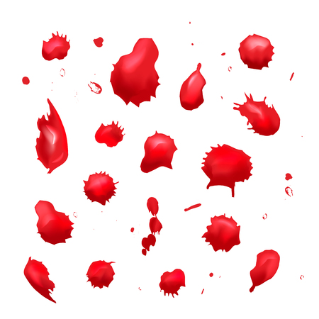 Set of different red blood drops on white Illustration