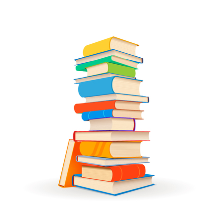 Stack of different colorful books isolated on white