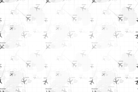 Detailed monochrome radar map with planes, wide detailed background