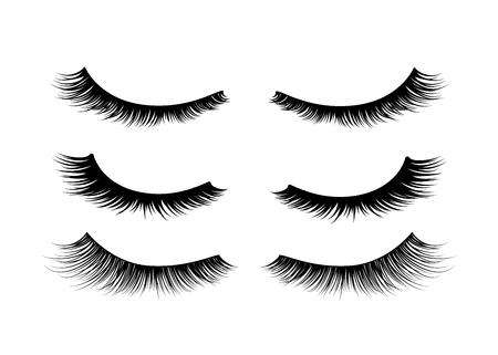Set of black realistic detailed eyelashes on white