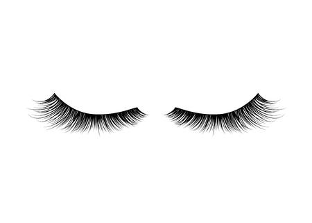 Black realistic detailed eyelashes on white