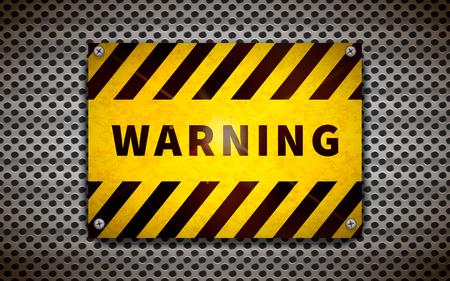 Yellow warning plate on metallic grid, industrial background