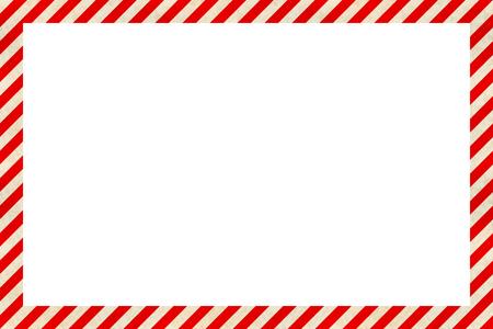 Segnale di pericolo cornice a strisce rosse e bianche, sfondo industriale Vettoriali