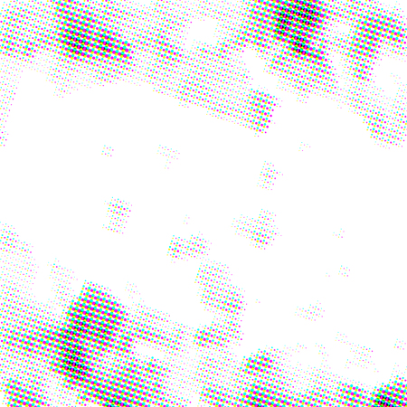 Bright CMYK grunge halftone dots, square pattern on white 矢量图像