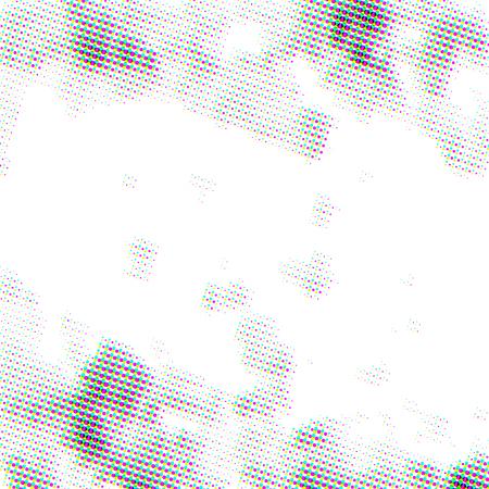 Bright CMYK grunge halftone dots, square pattern on white Illustration