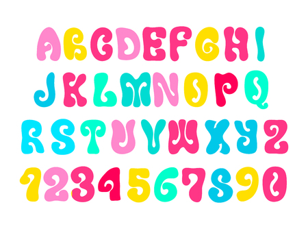 Colorful psychedelic hippie alphabet isolated on white Banco de Imagens - 124947824