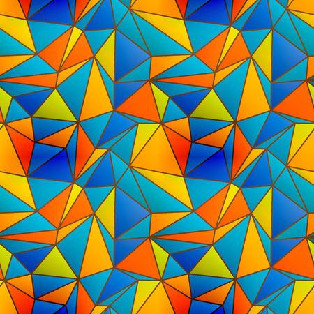 Colorful stained glass window seamless pattern