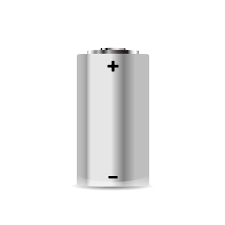 Realistic metal alkaline battery on white
