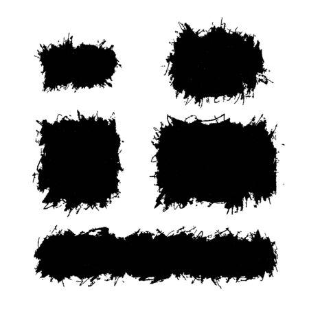 Messy grunge design elements, Ink splatters isolated on white Ilustrace