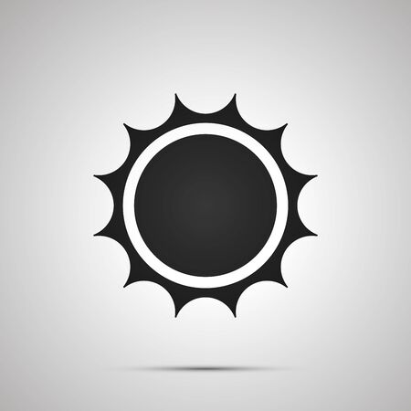 Sun with spiny rays, simple black icon with shadow on gray