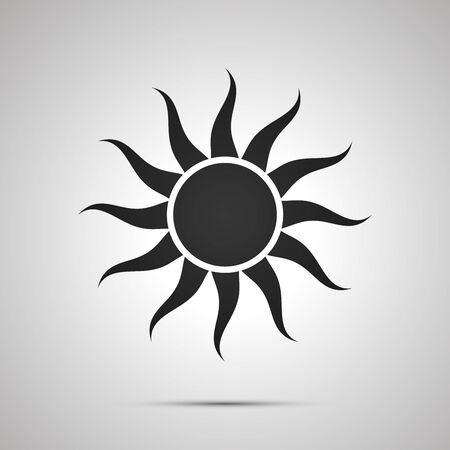 Sun with curved rays, simple black icon with shadow