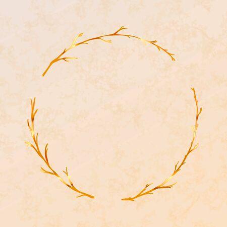 Golden detailed branches wreath on beige Foto de archivo - 129101132