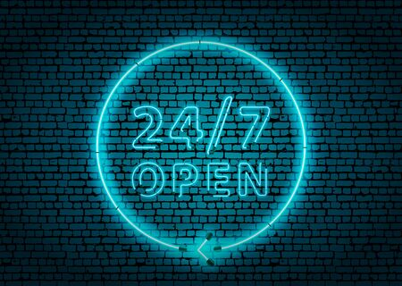 Bright blue neon glowing 24 hours open sign on brick wall