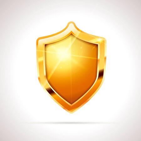 Bright golden glossy shield on white