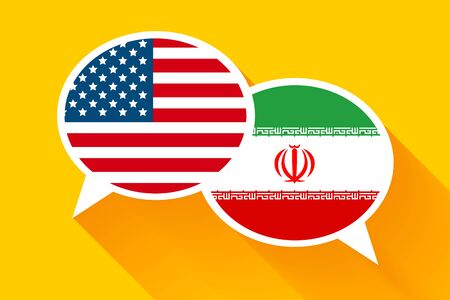 Two speech bubbles with USA and IRAN flags